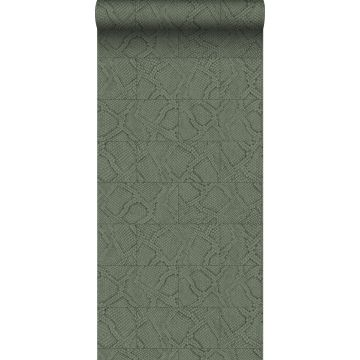 wallpaper tile motif with snake skin pattern gray-grained olive green
