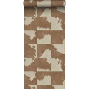 wallpaper cowhide imitation brown and white