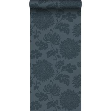 wallpaper flowers dark blue