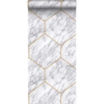 wallpaper hexagon with marble effect white, gray and gold