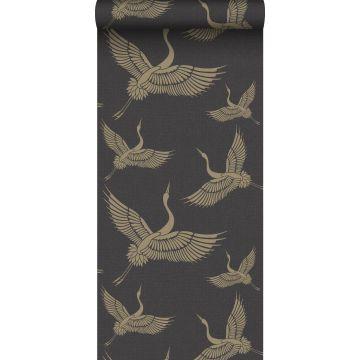 wallpaper crane birds black and gold