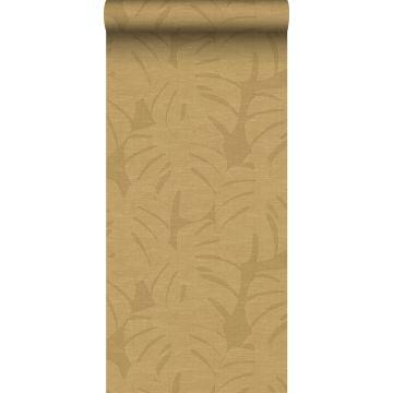 wallpaper tropical leaves mustard