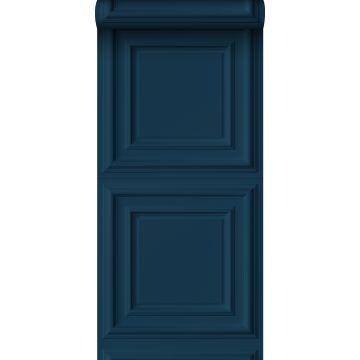 wallpaper wall panelling dark blue