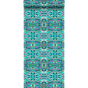 non-woven wallpaper XXL jungle fever turquoise