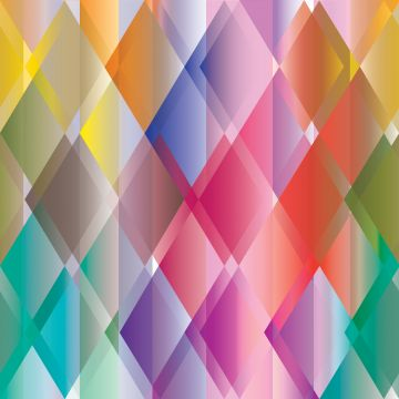 wall mural colorful triangles yellow, pink, red, purple and green