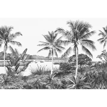 wall mural landscape with palms black and white