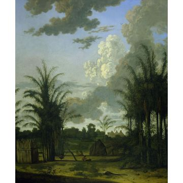 wall mural tropical landscape green, blue and mustard green