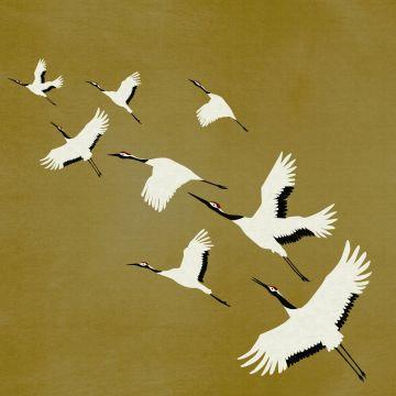 wall mural crane birds mustard