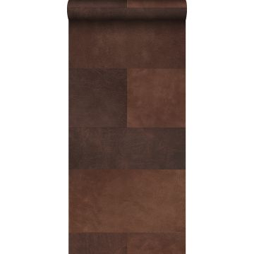 non-woven wallpaper XXL tile motif with leather look brown