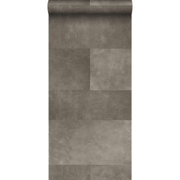 non-woven wallpaper XXL tile motif with leather look warm gray