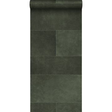 non-woven wallpaper XXL tile motif with leather look dark green