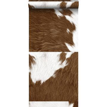 non-woven wallpaper XXL cowhide imitation brown and white