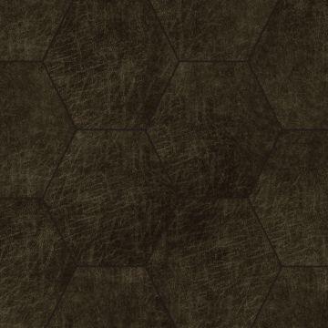 self-adhesive eco-leather tiles hexagon dark brown