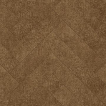 self-adhesive eco-leather tiles herring bone pattern cognac brown