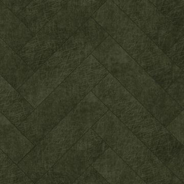 self-adhesive eco-leather tiles herring bone pattern olive green