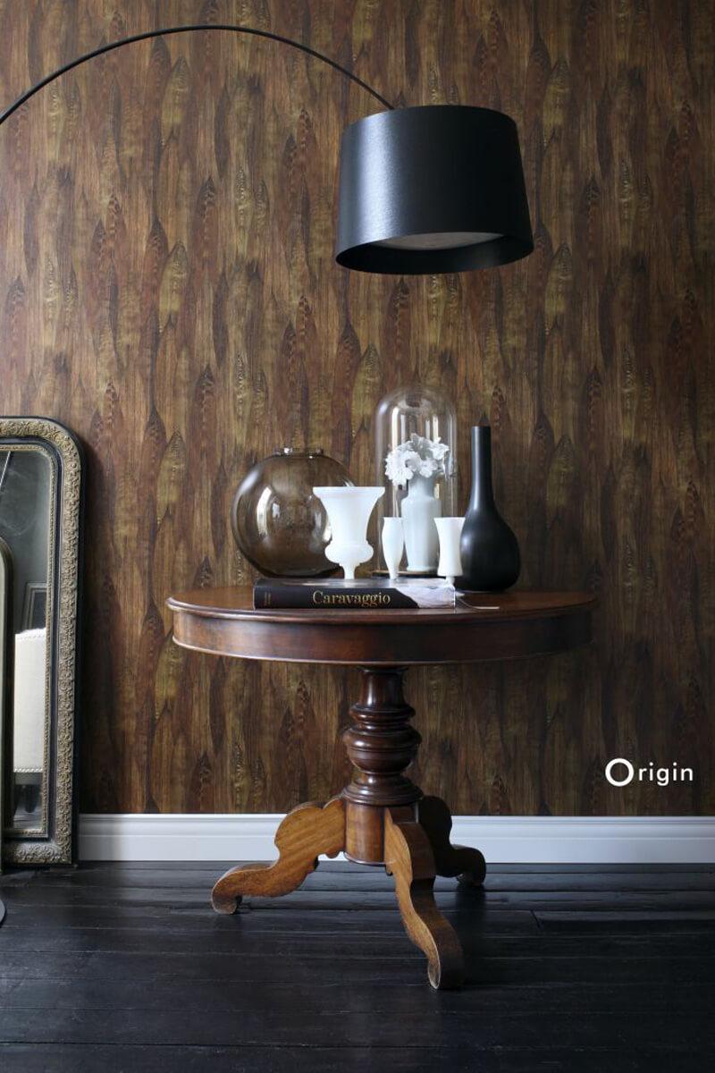 Wallpaper leaves elegant brown